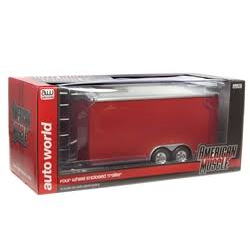 Traw Four Wheel Enclosed Trailer red AUTO WORLD 1:18 Diecast