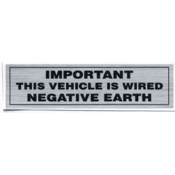 """Sticker """"IMPORTANT THIS VEHICLE IS WIRED NEGATIVE EARTH"""" 10x3 cm decal"""