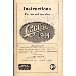 1914 Cadillac Owner's Manual Reprint by Floyd Clymer