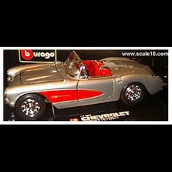 Chevrolet Corvette convertible 1957 silver-1:18 Diecast by BBURAGO