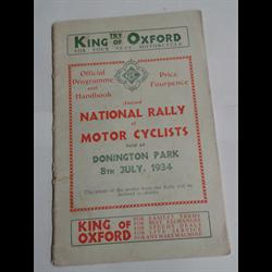 1934 National Rally of Motor Cyclists Program