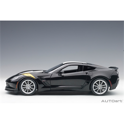 Chevrolet Corvette Grand Sport C7 , Black/White Str , Composite  - AUTOart 1:18