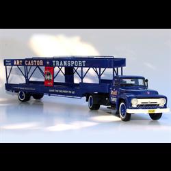 Ford F600 Tractor w/ 4 car trailer Art Castor 1950s Automodello 1:43 Diecast