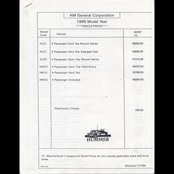 1995 HUMMER H1 Price List Sales Catalog-Brochure