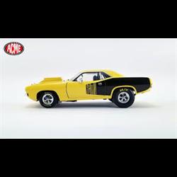 Plymouth Drag Cuda 1972 yellow Acme 1:18 Diecast