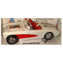 Chevrolet Corvette convertible 1957 white, red cove, USA Flag on hood, Eagle on