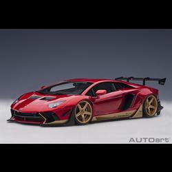 Lamborghini Aventador Hyper Red, Gold Accents AUTOart 1:18 Diecast